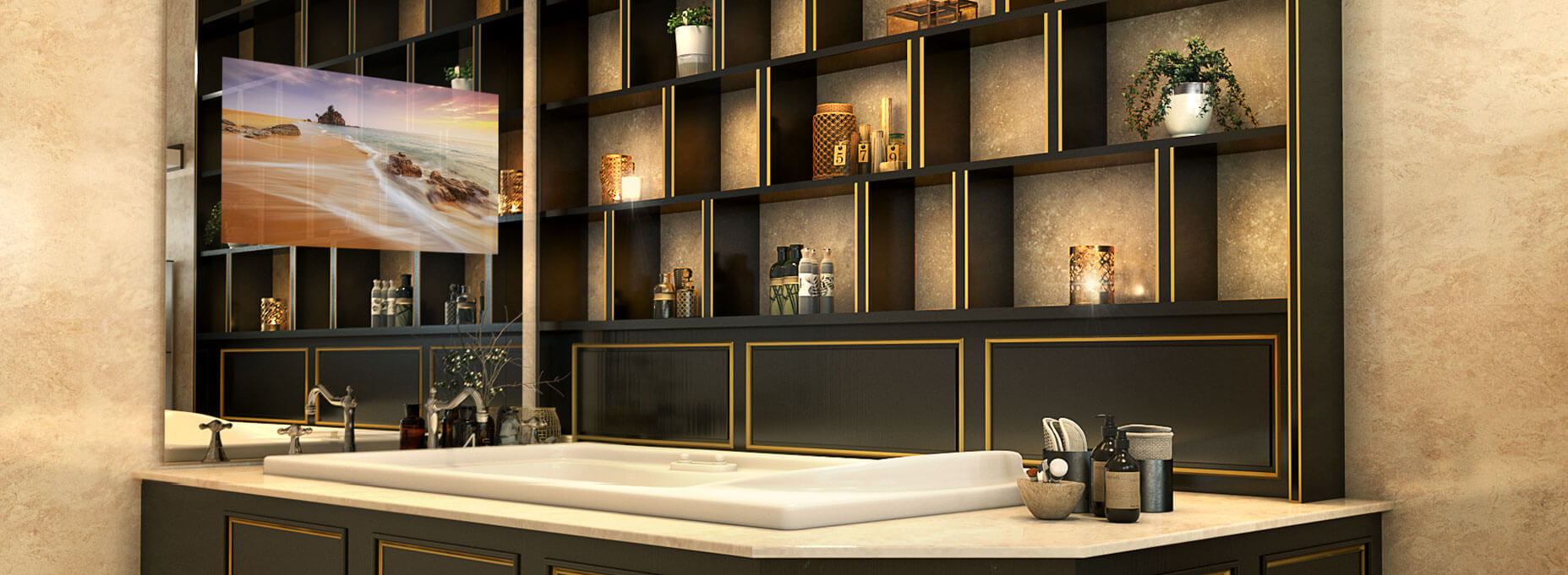 A bathroom full of shelves in black and gold and a tub facing a frameless mirror with its TV showing a beautiful scene of a beach.