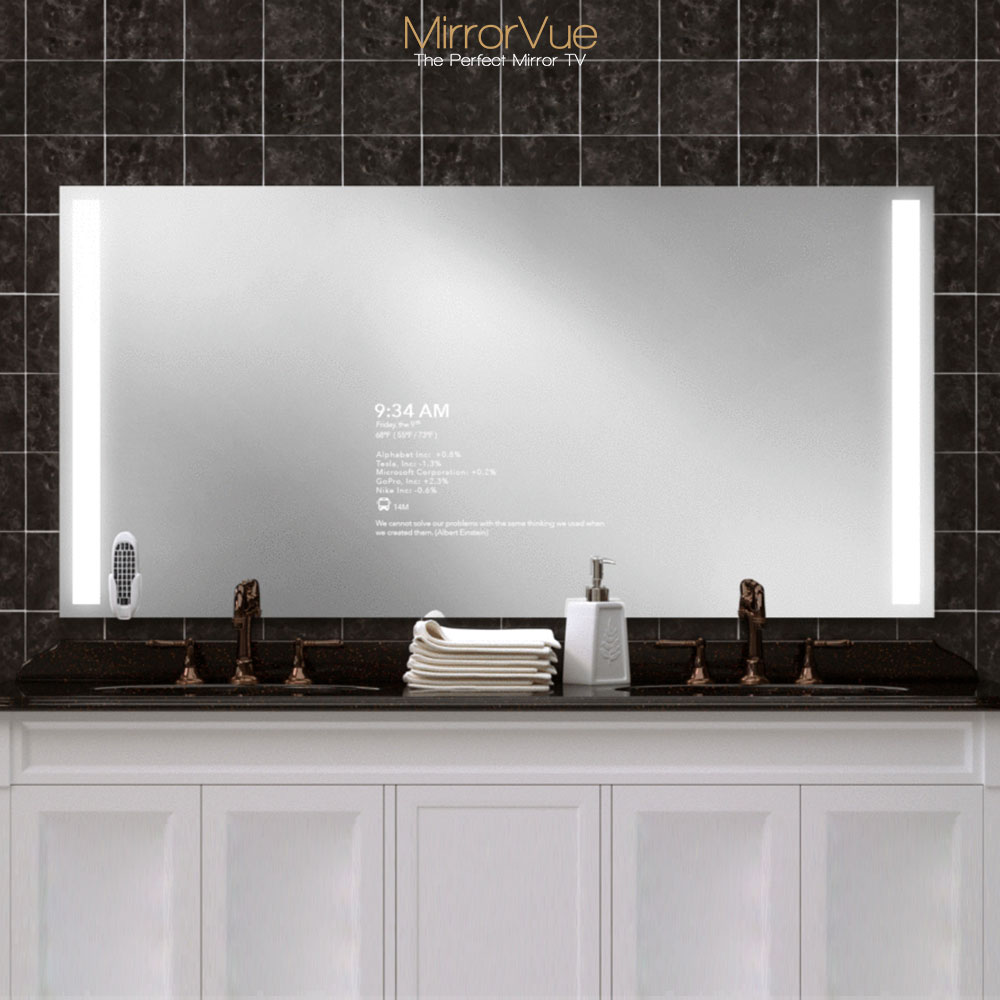 A smart mirror with integrated LED lights, Zepp remote control, built-in speakers, invisible touch button, and more.