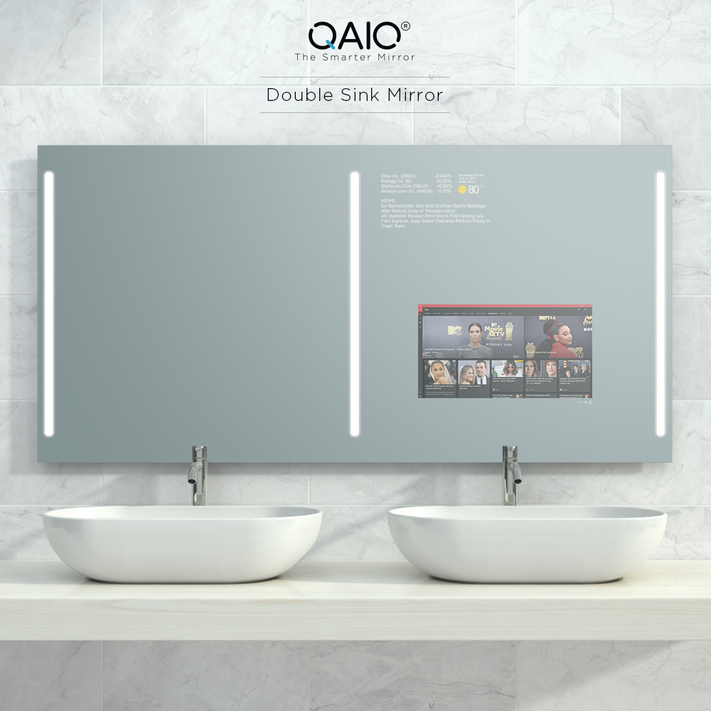 A smart mirror tv powered with android OS and Alexa.
