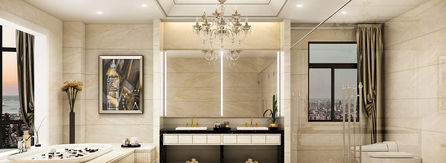 Two lighted mirrors in the center of a bathroom boasting its very sophisticated interior overlooking the city.