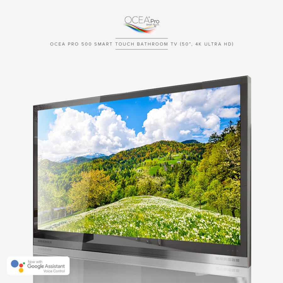 Smart touch bathroom TV equipped with 4k ultra HD.